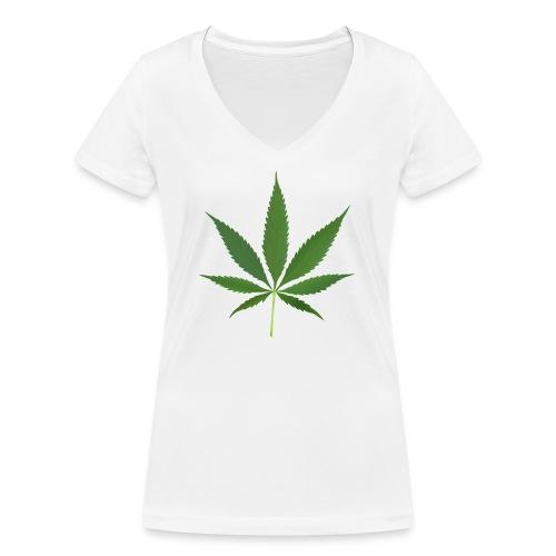 2000px-Cannabis_leaf_2 - Økologisk Stanley & Stella T-shirt med V-udskæring til damer