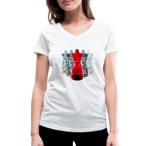 Lady Rosso Corsa and Her Dancers - Økologisk Stanley & Stella T-shirt med V-udskæring til damer