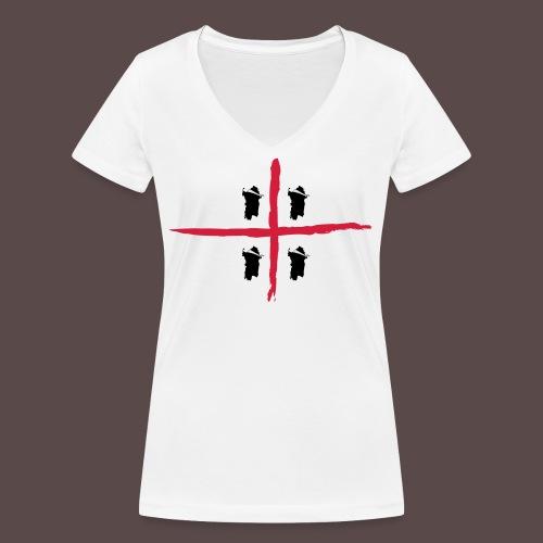Sardegna Bendata, 4 Mori orizzontale - T-shirt ecologica da donna con scollo a V di Stanley & Stella