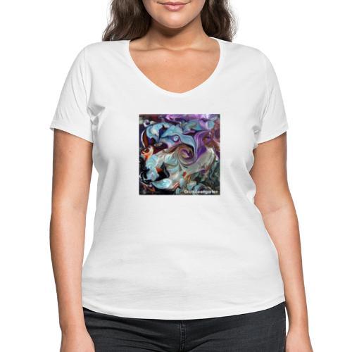 TIAN GREEN Welt Mosaik - AT028 Orchideengarten - Frauen Bio-T-Shirt mit V-Ausschnitt von Stanley & Stella