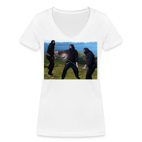 Chasvag ninja - Økologisk T-skjorte med V-hals for kvinner fra Stanley & Stella