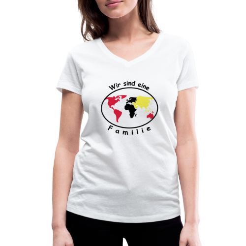 TIAN GREEN - Wir sind eine Familie - Frauen Bio-T-Shirt mit V-Ausschnitt von Stanley & Stella