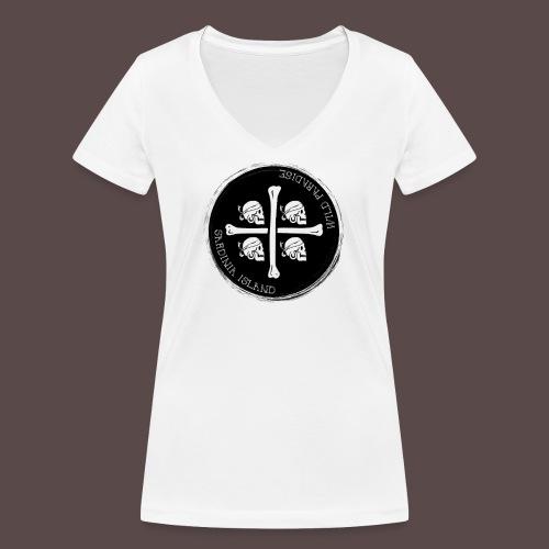 Sardegna Quattro Mori Pirata - T-shirt ecologica da donna con scollo a V di Stanley & Stella