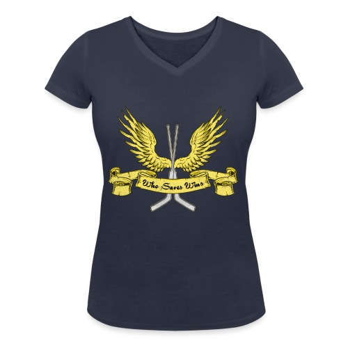 Who Saves Wins, Hockey Goalie - Women's Organic V-Neck T-Shirt by Stanley & Stella