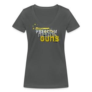 Freedom needs guns! - Frauen Bio-T-Shirt mit V-Ausschnitt von Stanley & Stella