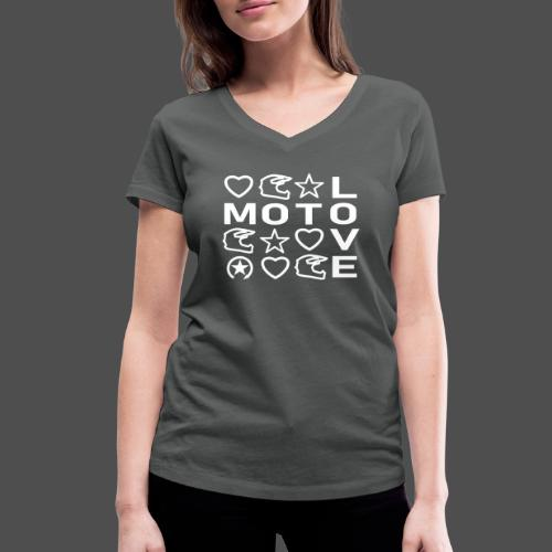 MOTO LOVE - Ekologiczna koszulka damska z dekoltem w serek Stanley & Stella
