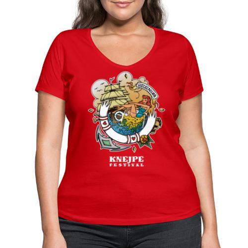 Knejpe Festival - stor tattoo med hvid tekst - Økologisk Stanley & Stella T-shirt med V-udskæring til damer