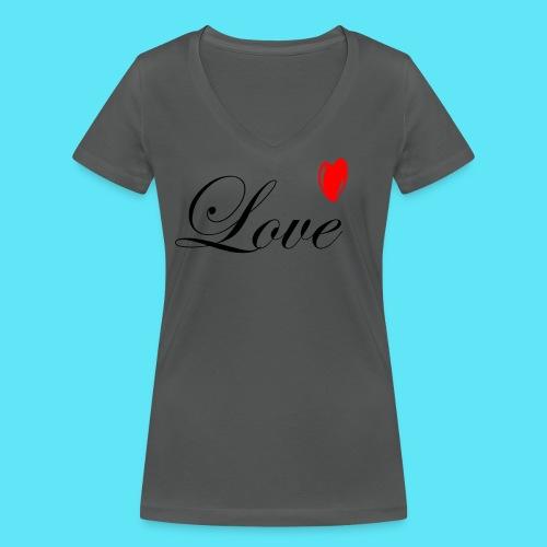 Love met rood hartje - Vrouwen bio T-shirt met V-hals van Stanley & Stella