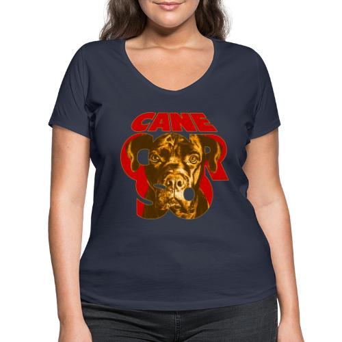 Cane Corso Retro - Stanley & Stellan naisten v-aukkoinen luomu-T-paita