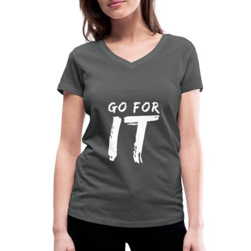 GO FOR IT - Frauen Bio-T-Shirt mit V-Ausschnitt von Stanley & Stella