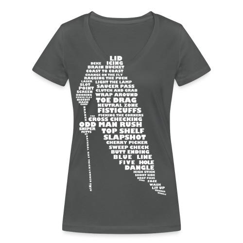 Language of Hockey (White) - Women's Organic V-Neck T-Shirt by Stanley & Stella