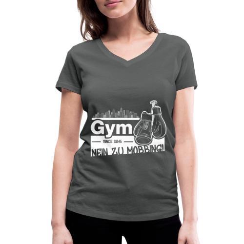 Nein zu Mobbing Men Druckfarbe weiß - Frauen Bio-T-Shirt mit V-Ausschnitt von Stanley & Stella