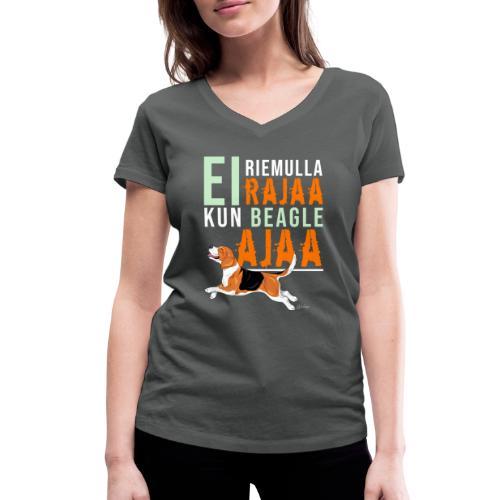 Riemulla Rajaa Beagle - Stanley & Stellan naisten v-aukkoinen luomu-T-paita