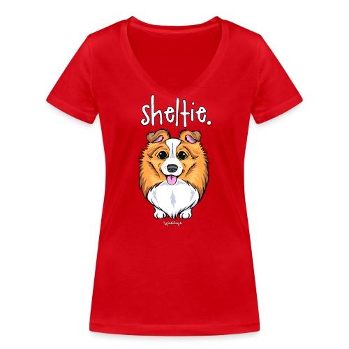 Sheltie Dog Cute 5 - Women's Organic V-Neck T-Shirt by Stanley & Stella