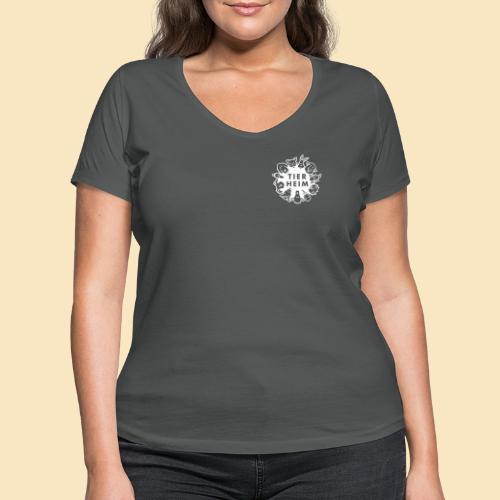Tierheim Logo weiss - Frauen Bio-T-Shirt mit V-Ausschnitt von Stanley & Stella