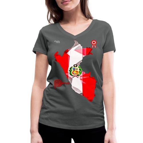 Mapa del Peru, Bandera und Escarapela - Frauen Bio-T-Shirt mit V-Ausschnitt von Stanley & Stella