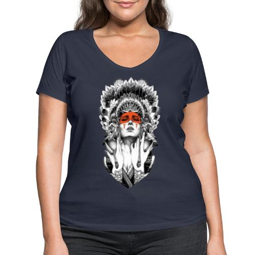Mujer nativa - Camiseta ecológica mujer con cuello de pico de Stanley & Stella