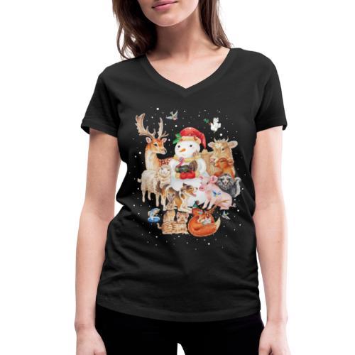 winter animals - Women's Organic V-Neck T-Shirt by Stanley & Stella