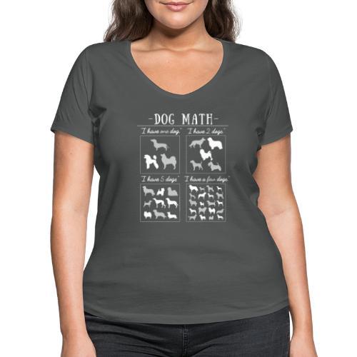Dog Math II - Stanley & Stellan naisten v-aukkoinen luomu-T-paita