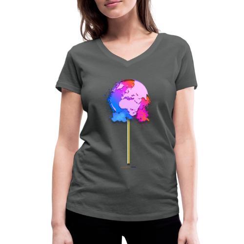 TShirt lollipop world - T-shirt bio col V Stanley & Stella Femme