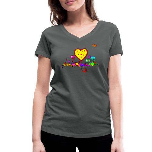 Blumengruß mit Herz - Frauen Bio-T-Shirt mit V-Ausschnitt von Stanley & Stella