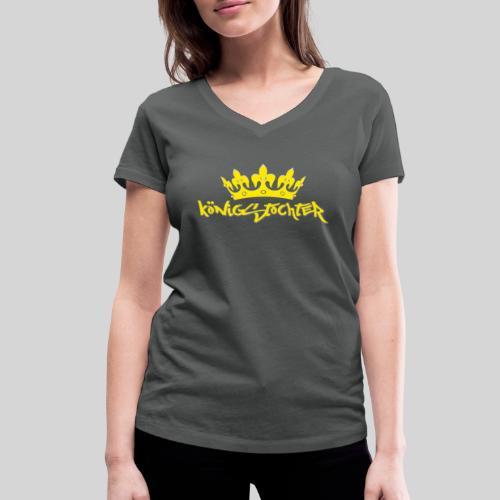 Königstochter m. Krone über der stylischen Schrift - Frauen Bio-T-Shirt mit V-Ausschnitt von Stanley & Stella