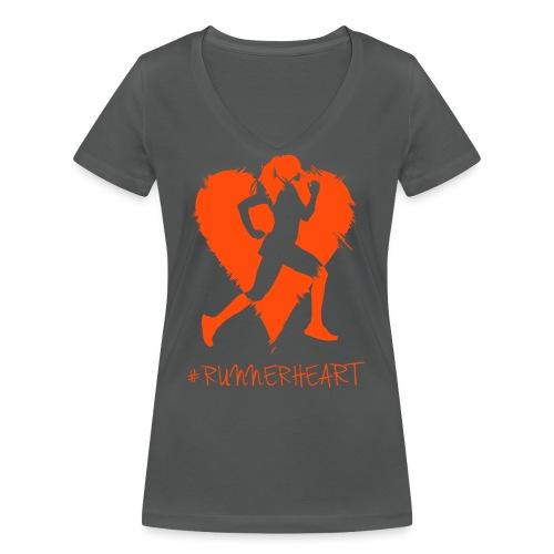 #Runnerheart girl - Frauen Bio-T-Shirt mit V-Ausschnitt von Stanley & Stella