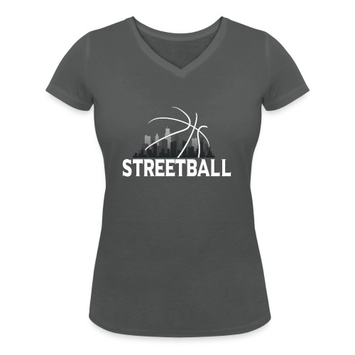 Streetball Skyline - Street basketball - Women's Organic V-Neck T-Shirt by Stanley & Stella