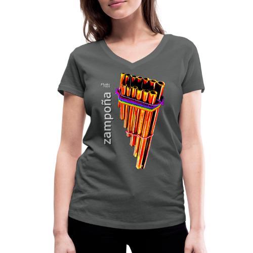 Zampoña clara - Women's Organic V-Neck T-Shirt by Stanley & Stella