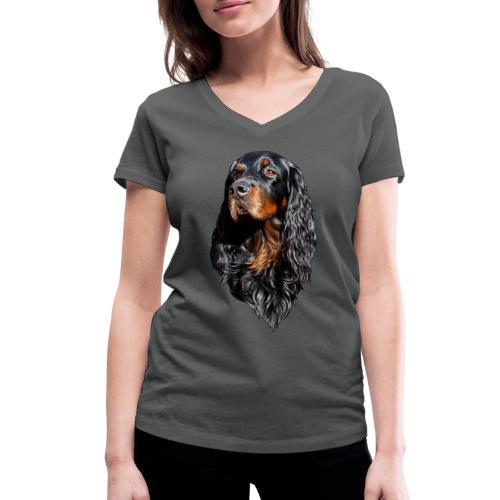 Gordon Setter Portrait - Stanley & Stellan naisten v-aukkoinen luomu-T-paita