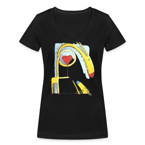 Giraffa innamorata - T-shirt ecologica da donna con scollo a V di Stanley & Stella