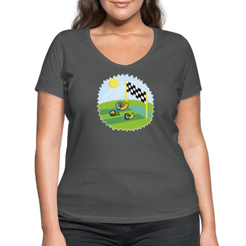 Zen Schnecken im Wettrennen auf sonniger Wiese - Frauen Bio-T-Shirt mit V-Ausschnitt von Stanley & Stella