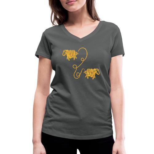 Miteinander verbundene Linoldruck Schafe in senf - Frauen Bio-T-Shirt mit V-Ausschnitt von Stanley & Stella