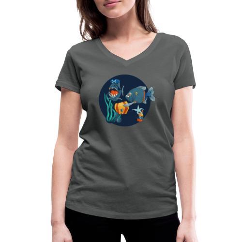 pirate piranhas - Frauen Bio-T-Shirt mit V-Ausschnitt von Stanley & Stella