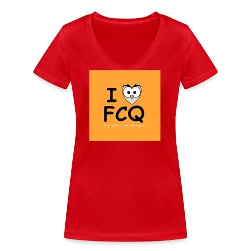 I Love FCQ button orange - Frauen Bio-T-Shirt mit V-Ausschnitt von Stanley & Stella