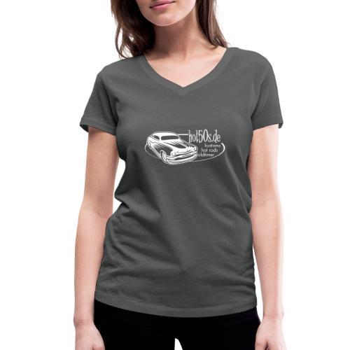 hot50s Logo weiss - Frauen Bio-T-Shirt mit V-Ausschnitt von Stanley & Stella