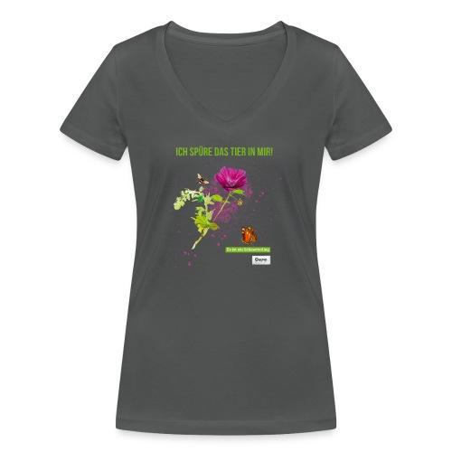 Ich spüre das Tier in mir Es ist ein Schmetterling - Frauen Bio-T-Shirt mit V-Ausschnitt von Stanley & Stella