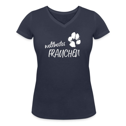 Vorschau: weltbestes Frauchen Pfote Hund - Frauen Bio-T-Shirt mit V-Ausschnitt von Stanley & Stella