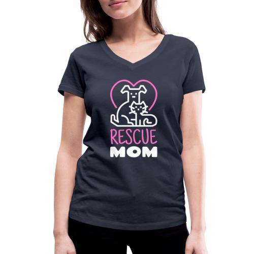 Rescue Mom - Stanley & Stellan naisten v-aukkoinen luomu-T-paita