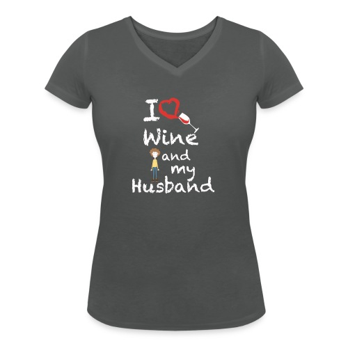 I love Red wine & my Husband Couples Pairs Wedding - T-shirt ecologica da donna con scollo a V di Stanley & Stella