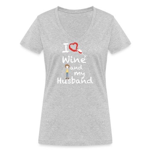 I love Red wine & my Husband Couples Pairs Wedding - T-shirt ecologica da donna con scollo a V di Stanley & Stella