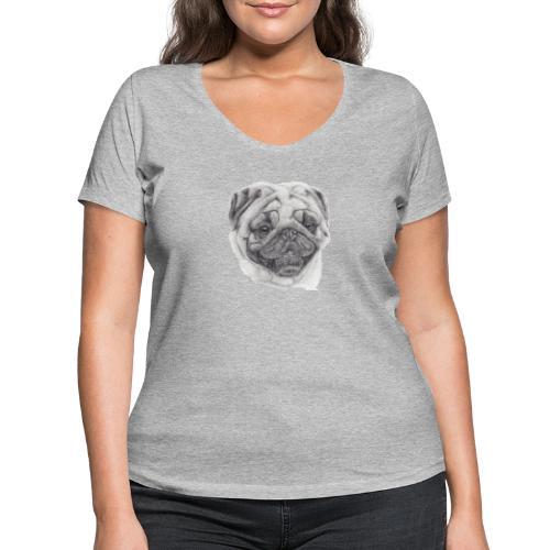 Pug mops 2 - Økologisk Stanley & Stella T-shirt med V-udskæring til damer
