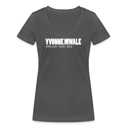 Logo_YvonneMwale_white_la - Frauen Bio-T-Shirt mit V-Ausschnitt von Stanley & Stella