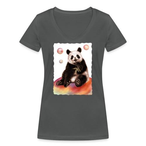Panda World - T-shirt ecologica da donna con scollo a V di Stanley & Stella