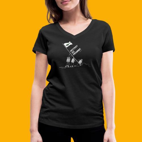 Dat Robot: Destroy War Dark - Vrouwen bio T-shirt met V-hals van Stanley & Stella