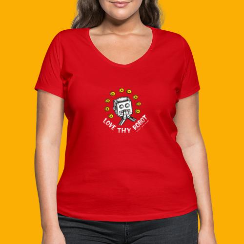Dat Robot: Love Thy Robot Series Dark - Vrouwen bio T-shirt met V-hals van Stanley & Stella