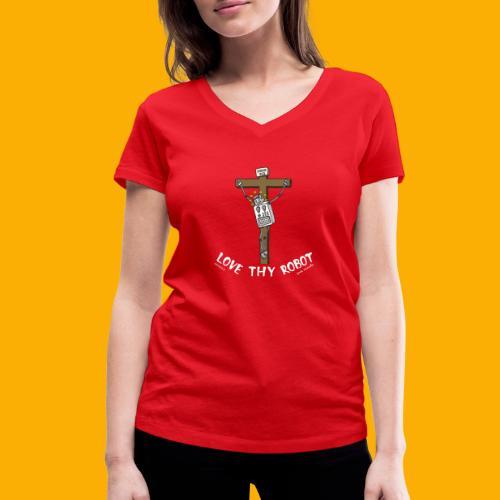 Dat Robot: Love Thy Robot Jesus Dark - Vrouwen bio T-shirt met V-hals van Stanley & Stella