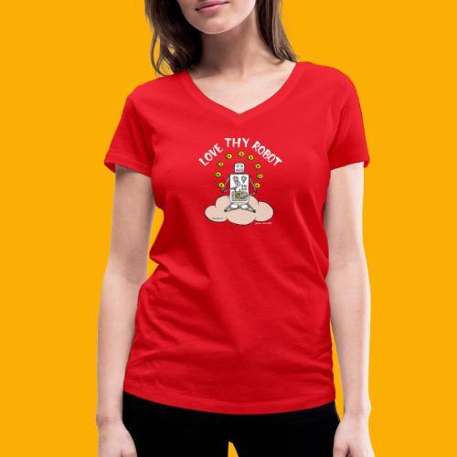Dat Robot: Love Thy Robot Buddha Dark - Vrouwen bio T-shirt met V-hals van Stanley & Stella
