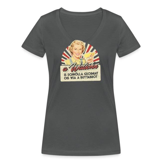 Vorschau: A Watschn is schnö gschmiat - Frauen Bio-T-Shirt mit V-Ausschnitt von Stanley & Stella