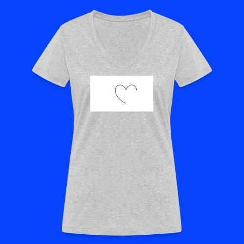 t-shirt bianca con cuore - T-shirt ecologica da donna con scollo a V di Stanley & Stella